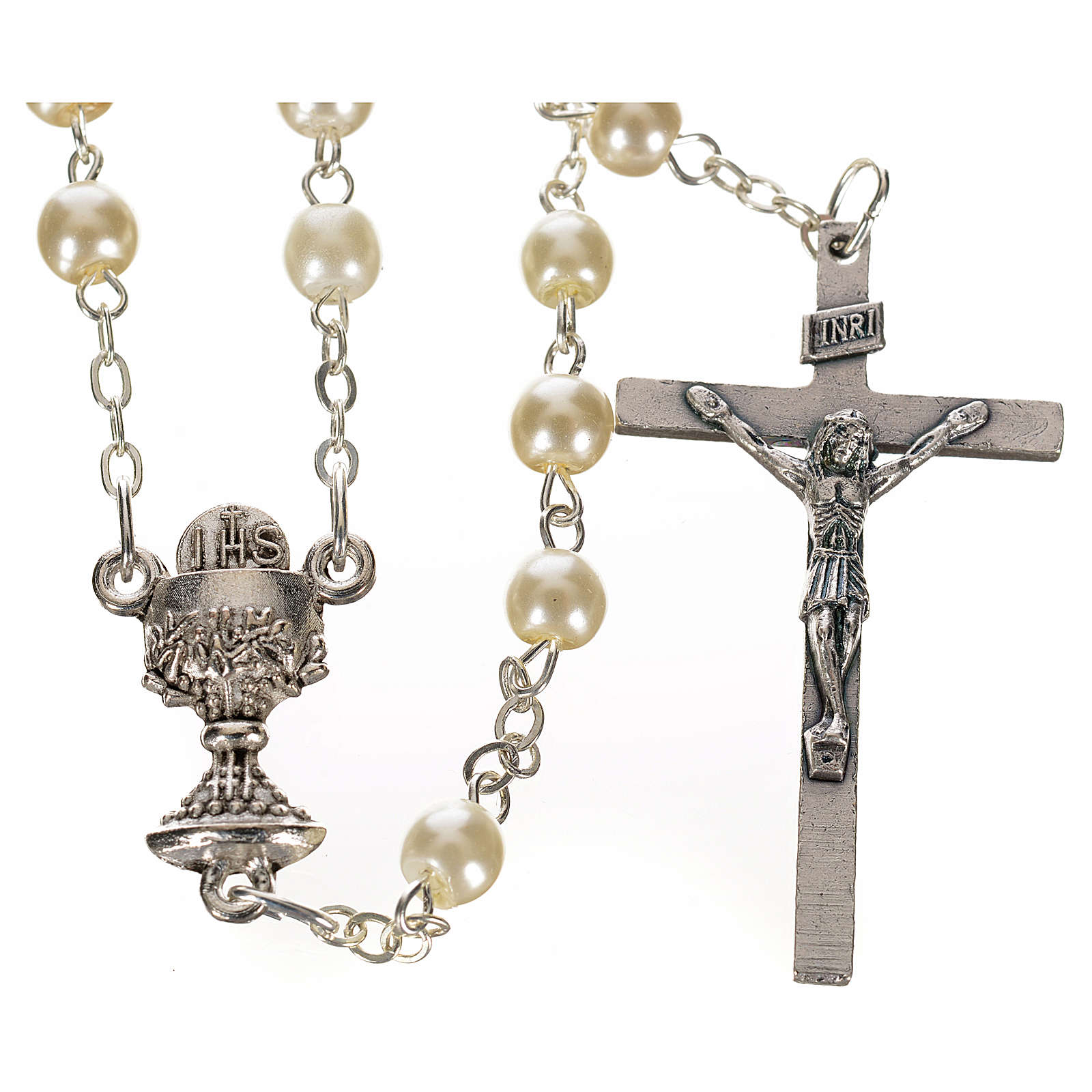 Chapelet imitation nacre, première communion ivoire 4