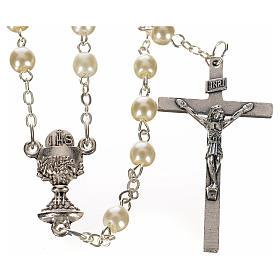 Chapelet imitation nacre, première communion ivoire s1