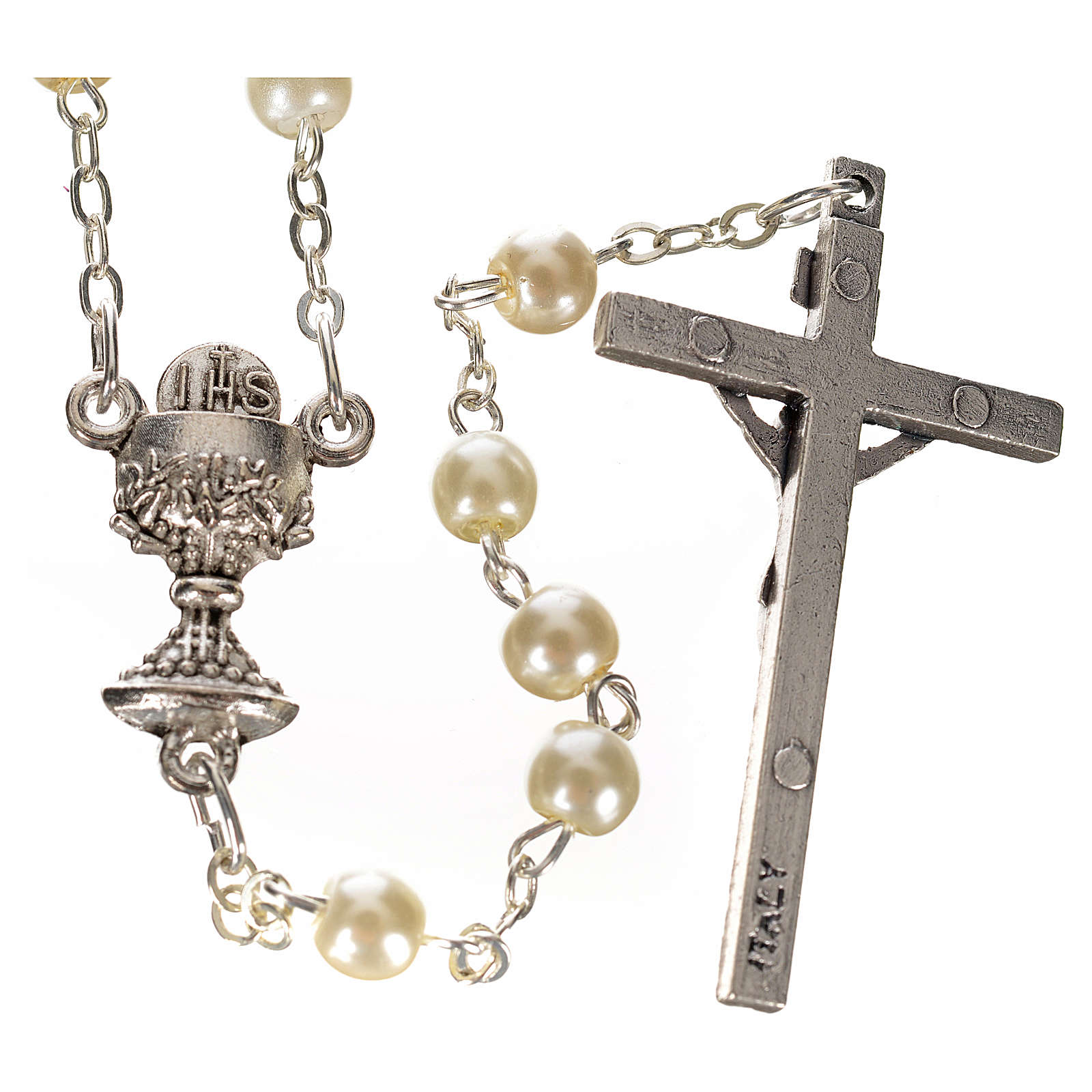 First Communion ivory pearl effect rosary 4