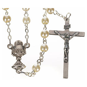 First Communion ivory pearl effect rosary s1