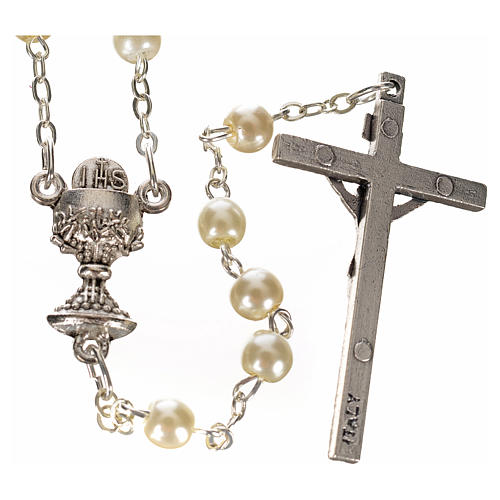 First Communion ivory pearl effect rosary 2