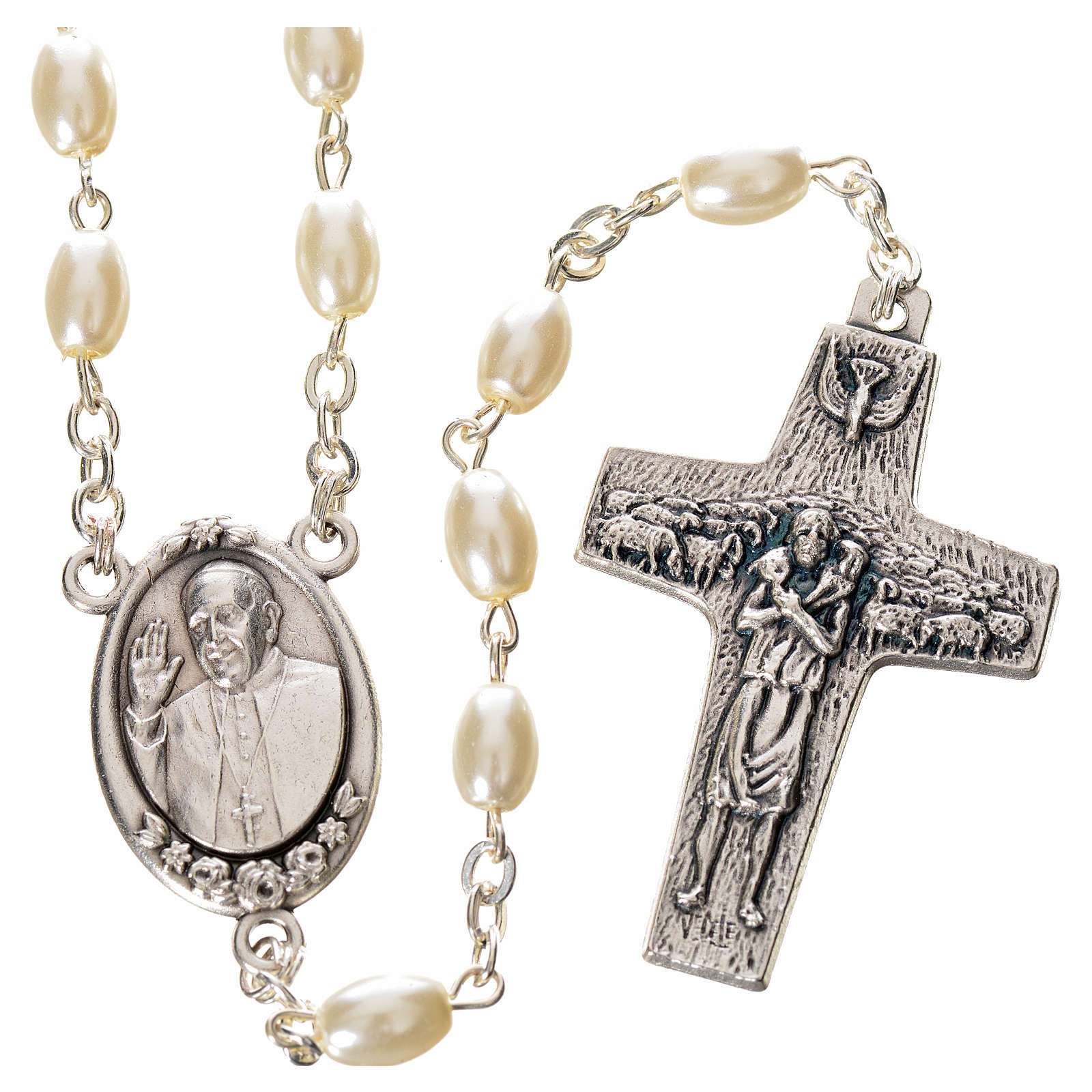Imitation pearl rosary, Pope Francis, oval grains 4