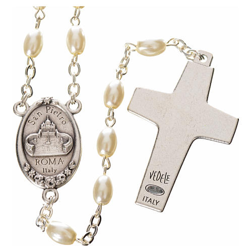 Imitation pearl rosary, Pope Francis, oval grains 2