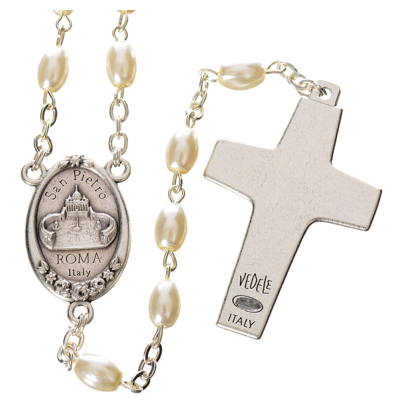 Rosario imitación perla Papa Francisco con cuentas ovales 4