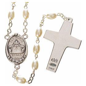 Rosario imitación perla Papa Francisco con cuentas ovales s2