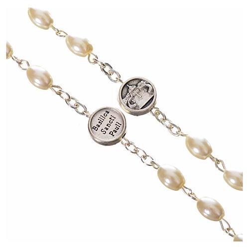 Rosario imitación perla Papa Francisco con cuentas ovales 3