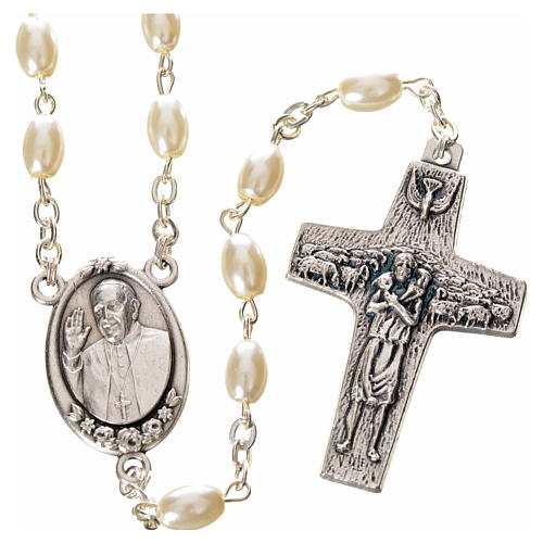 Imitation pearl rosary, Pope Francis, oval grains 1