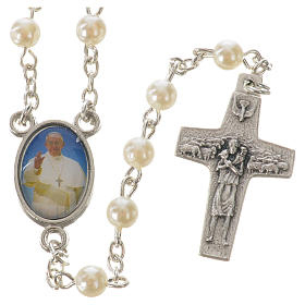 Rosario Papa Francesco imitazione perla 5mm s1