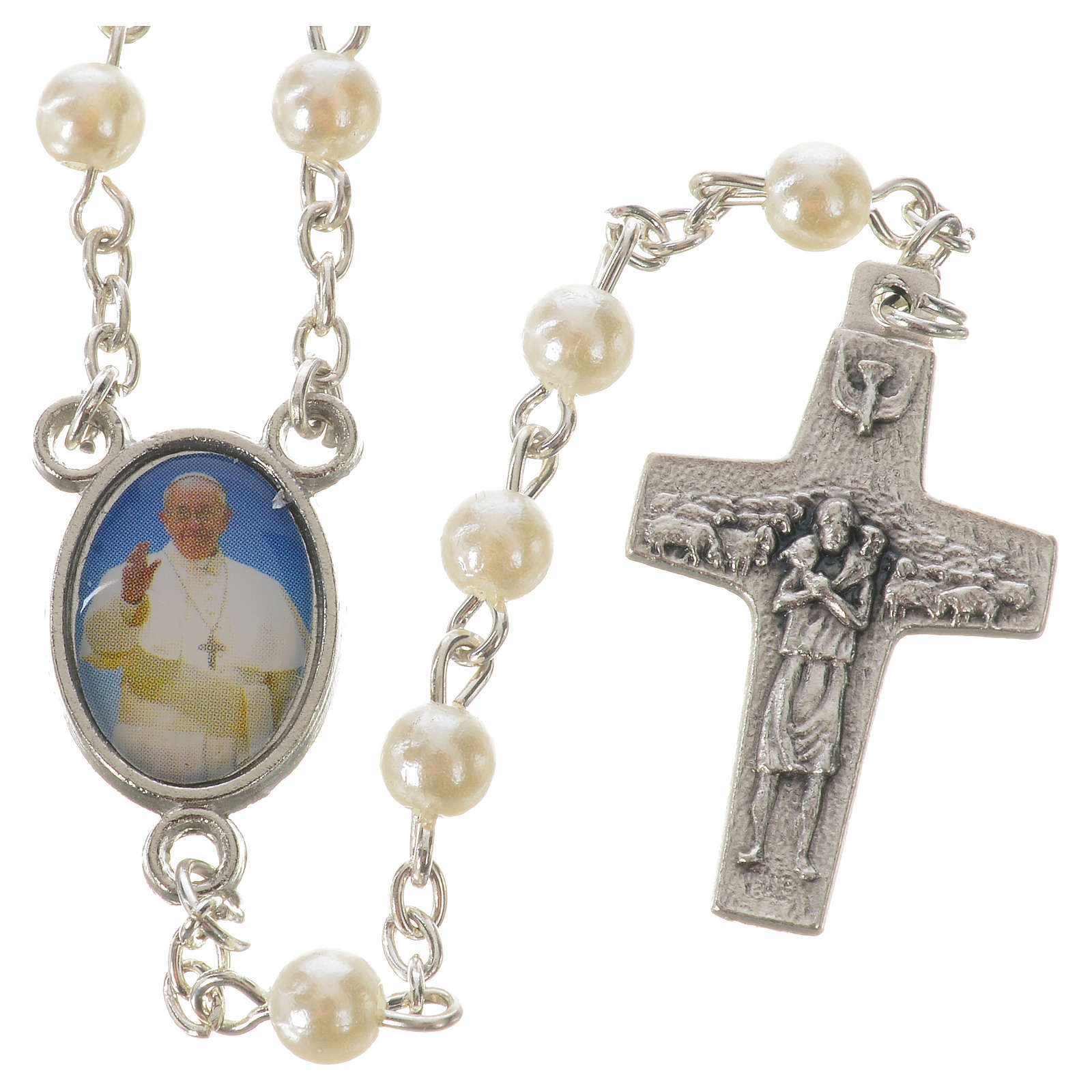 Rosary with Pope Francis, peal-like 5mm beads 4