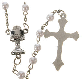 Communion rosary, pearl-like beads 5mm s2
