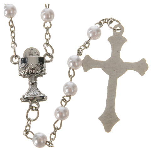 Communion rosary, pearl-like beads 5mm 2