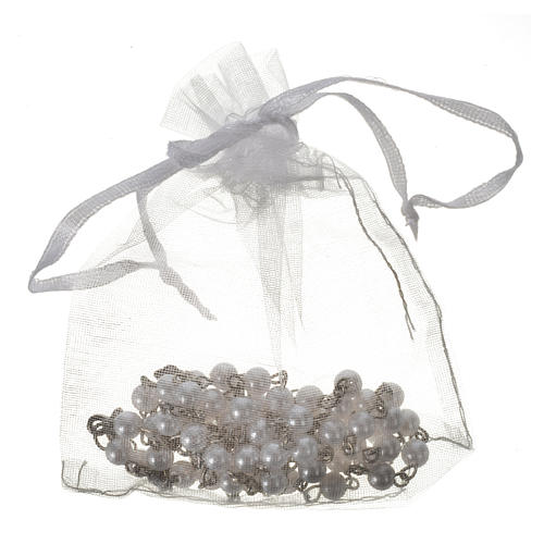 Communion rosary, pearl-like beads 5mm 4