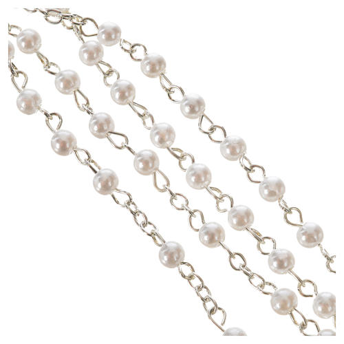 Pope Francis rosary, pearl-like white beads 4mm 3