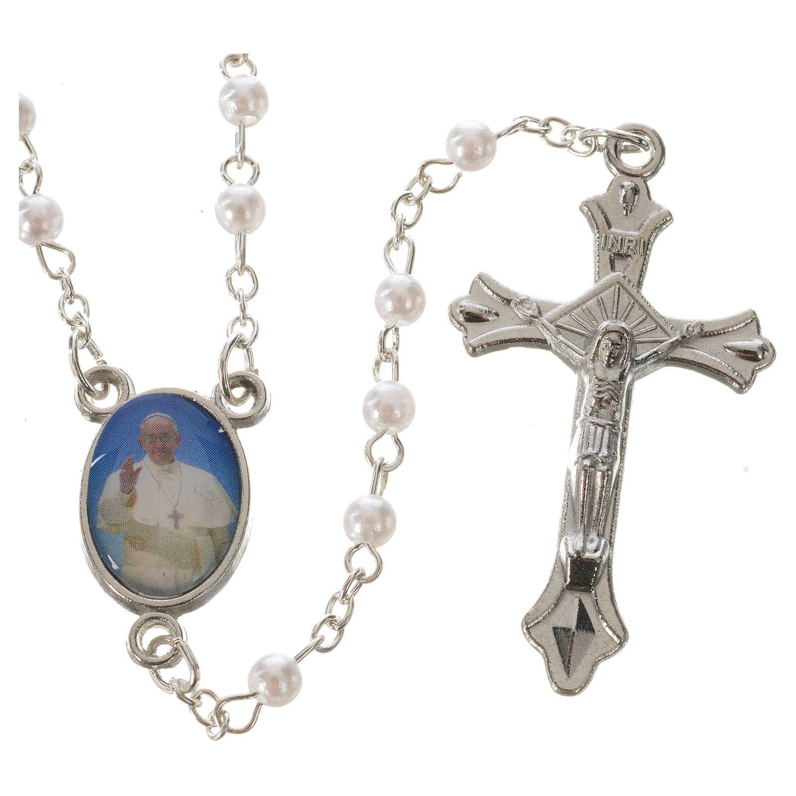 Rosario Papa Francisco imitación perla blanca 4 mm 4