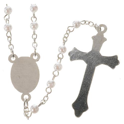 Rosario Papa Francesco imitazione perla bianca 4 mm 2