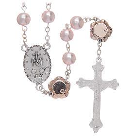 Rosario con cuentas de vidrio símil nácar y Padre Nuestro con forma de rosa s2
