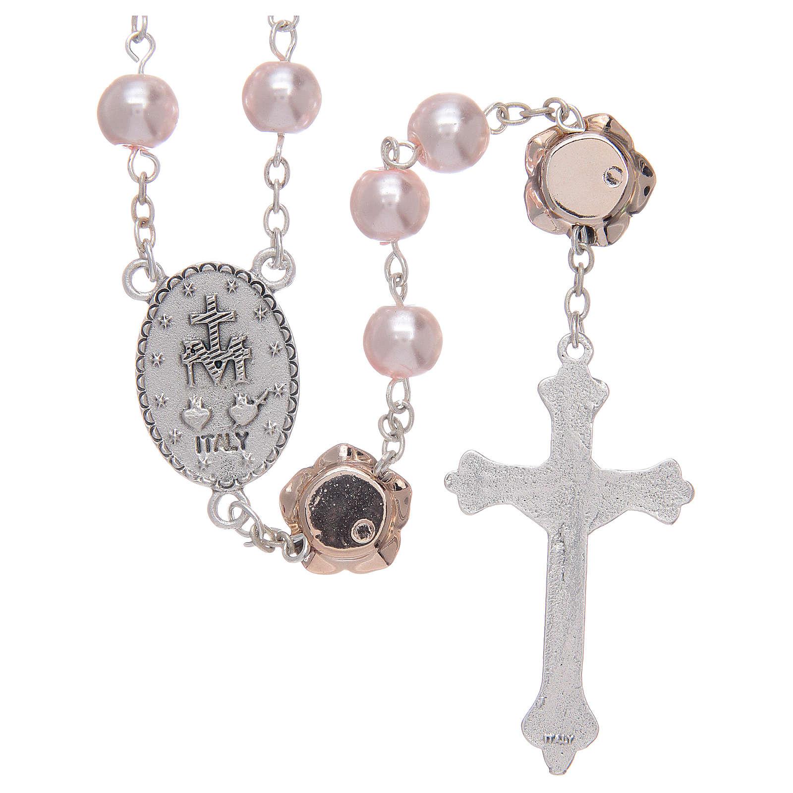 Rosario con grani in vetro similperla e con Pater a forma di rosa 4