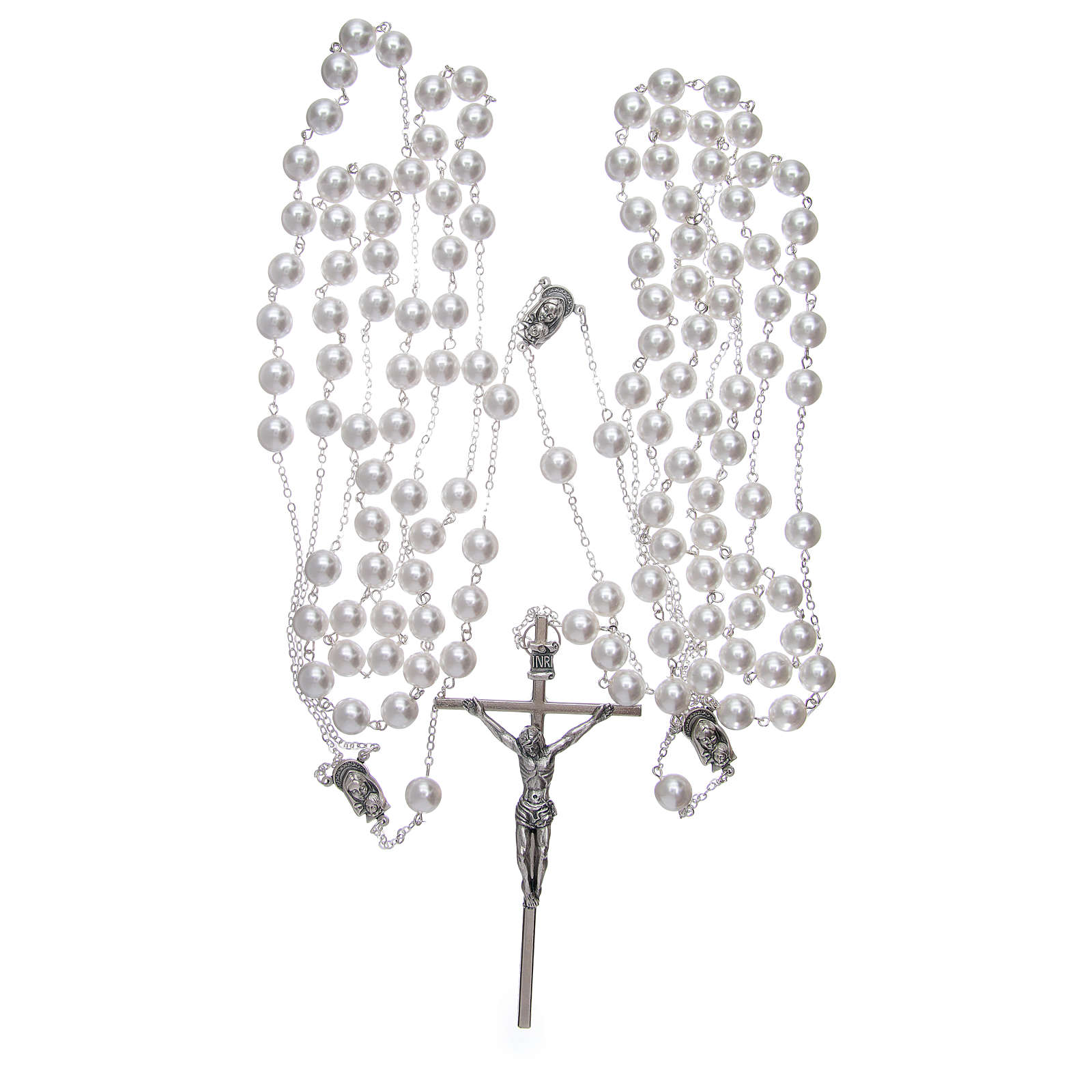 Double rosary for wedding with glass grains in mother of pearl imitation 4