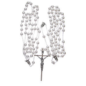 Double rosary for wedding with glass grains in mother of pearl imitation s3