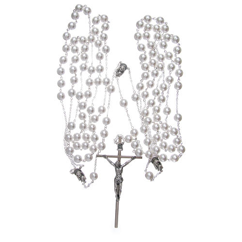 Double rosary for wedding with glass grains in mother of pearl imitation 3