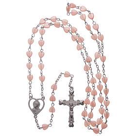 STOCK Rosenkranz mit rosa Perlen in Herzform, Metallbindung s4