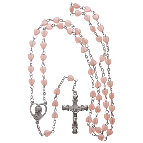 STOCK rosary with heart shape in pink plastic and setting in metal 4