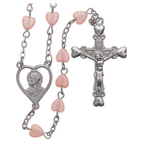 STOCK rosary with heart shape in pink plastic and setting in metal s1