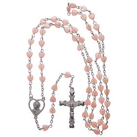 STOCK rosary with heart shape in pink plastic and setting in metal s4