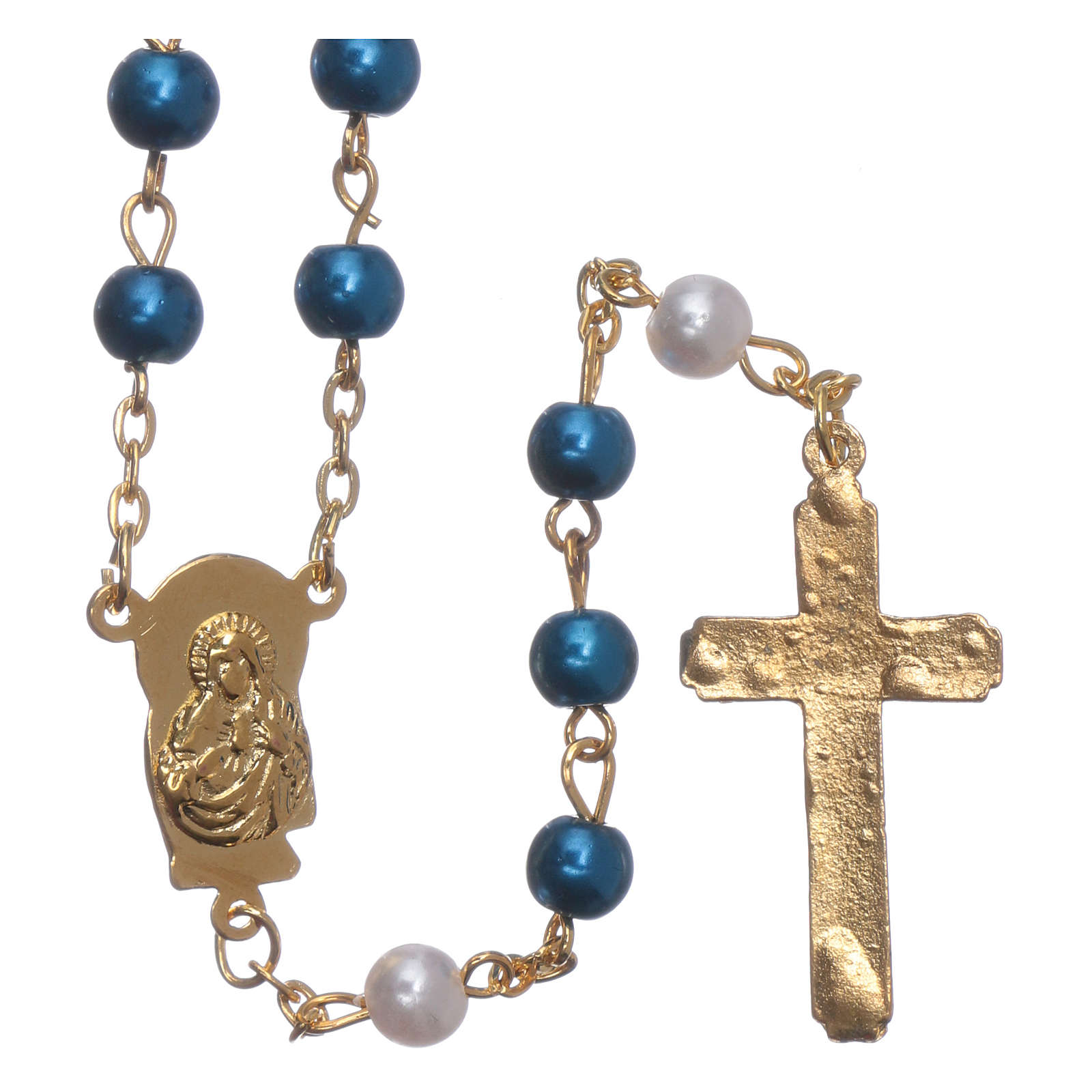 Rosary with pearl imitation silver setting 6 mm 4
