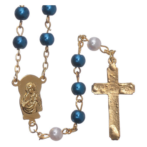 Rosary with pearl imitation silver setting 6 mm 2