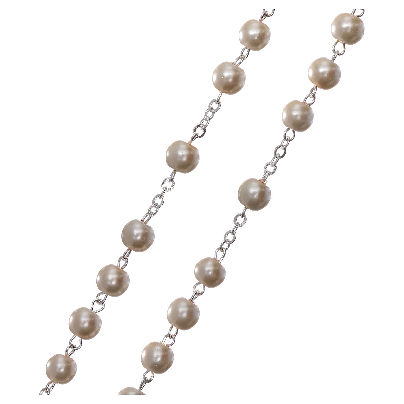 Rosary with Fatima soil 4x5 mm grains, white pearl effect 4