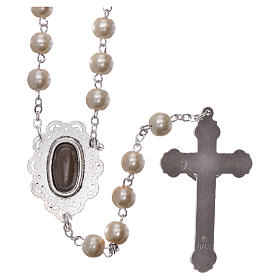 Rosary with Fatima soil 4x5 mm grains, white pearl effect s2
