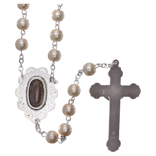 Rosary with Fatima soil 4x5 mm grains, white pearl effect 2