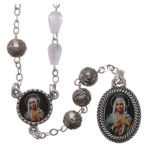 Rosary in plastic mother-of-pearl effect, Our Lady of Tears of Syracuse 5x3 mm grains 1