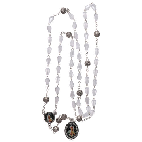 Rosary in plastic mother-of-pearl effect, Our Lady of Tears of Syracuse 5x3 mm grains 4