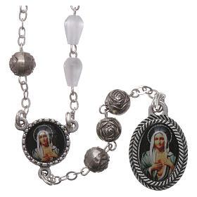 Rosarios símil perla: Rosario plástico símil madreperla Virgen de las Lágrimas Siracusa 5x3 mm
