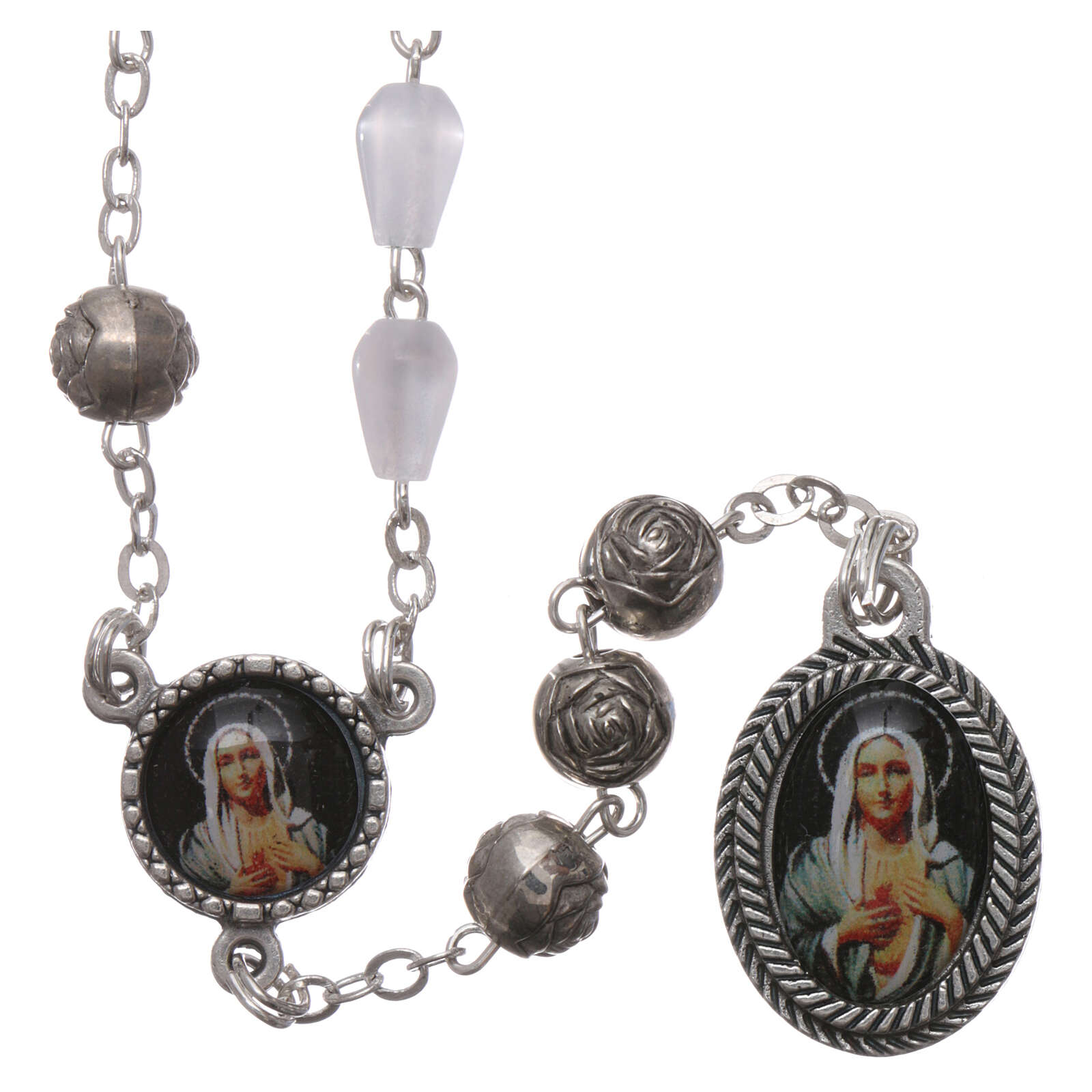 Plastic rosary imitation pearl beads Our Lady of Tears Syracuse 5x3 mm 4