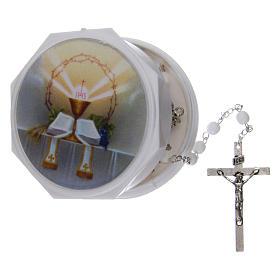 Chapelet imitation nacre pour Première Communion 3 mm avec étui s5