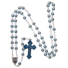 Rosario simil perla redondo azul 5 mm cruz esmaltada s4