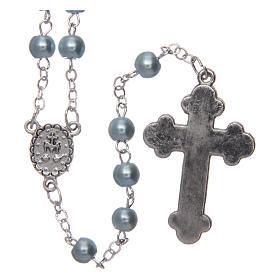 Chapelet imitation nacre rond bleu clair 5 mm croix émaillée s2