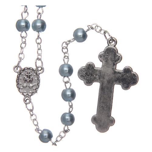 Chapelet imitation nacre rond bleu clair 5 mm croix émaillée 2