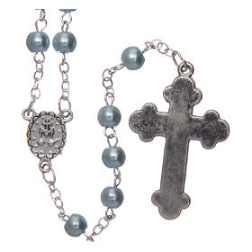 Imitation pearl rosary round light blue beads 5 mm enamelled cross s2