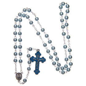 Imitation pearl rosary round light blue beads 5 mm enamelled cross s4