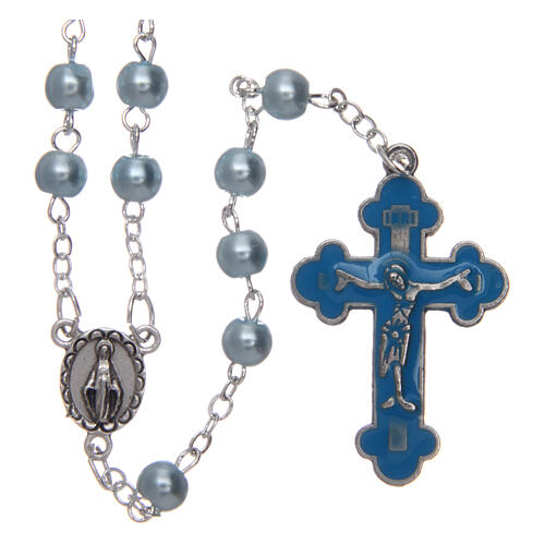 Imitation pearl rosary round light blue beads 5 mm enamelled cross 1