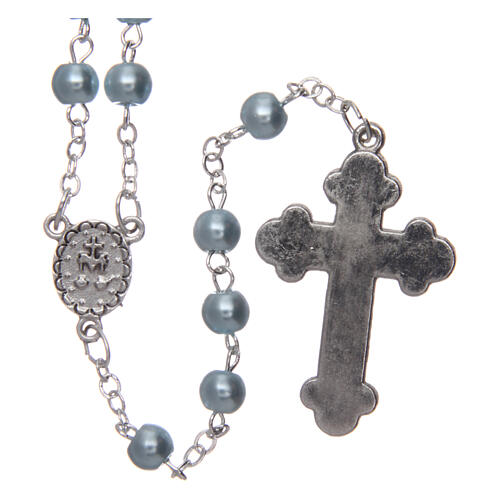 Imitation pearl rosary round light blue beads 5 mm enamelled cross 2