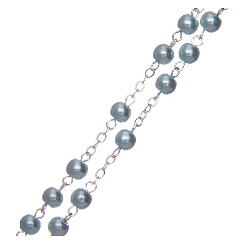 Imitation pearl rosary round light blue beads 5 mm enamelled cross 3