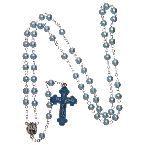 Imitation pearl rosary round light blue beads 5 mm enamelled cross 4