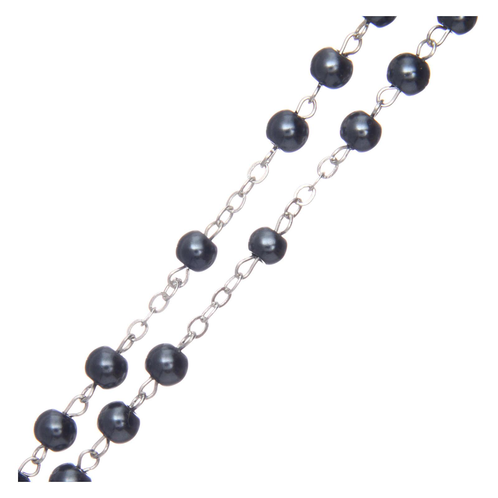 Rosario simil perla redondo hematites 5 mm cruz esmaltada 4
