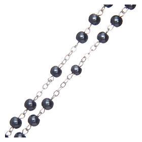 Rosario simil perla redondo hematites 5 mm cruz esmaltada s3
