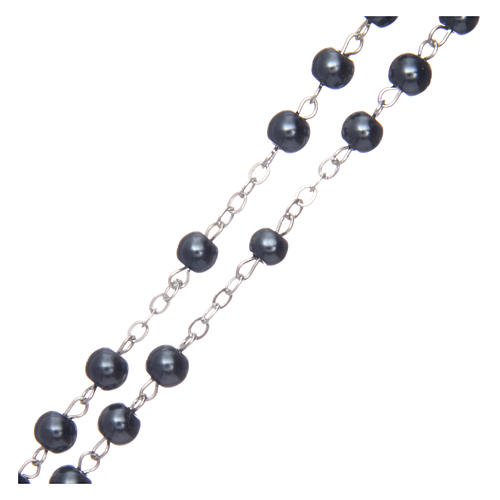 Rosario simil perla redondo hematites 5 mm cruz esmaltada 3
